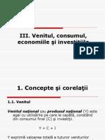Venitul Consumul, Economiile Si Investitiile