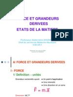 Forces et grandeurs dérivées - états de la matière 2