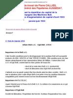 Notes de travail de Pierre CALLIES Directeur Général des Papeteries AUSSEDAT concernant la répartition du capital de la Compagnie des Machines Bull,et les opérations d'augmentation de capital avril 1933