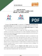 Nota de Prensa Torneo FLL-2012 Castilla y León