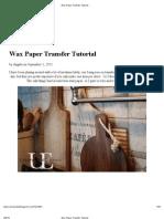 Wax Paper Transfer Tutorial