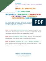 Btech Major Project List