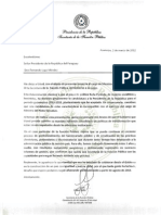 Carta de renuncia de Lilian Soto como ministra de la Función Pública