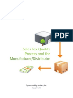 Sales Tax Quality Process and the Manufacturer/Distributor