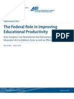 The Federal Role in Improving Educational Productivity