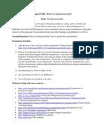 Entreprenuer Project2012