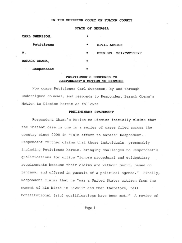 Swensson v obama petitioners response to respondents motion to swensson v obama petitioners response to respondents motion to dismiss fulton county superior court 3 2 2012 xflitez Choice Image