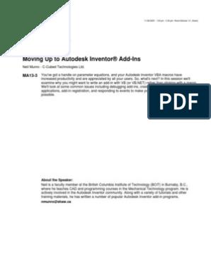 Autodesk Inventor Addin Component Object Model Visual