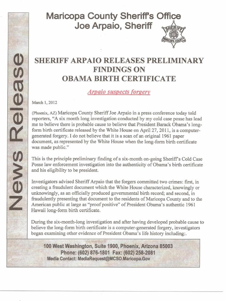 Maricopa County Sheriff Joe Arpaios Findings On Obama Birth