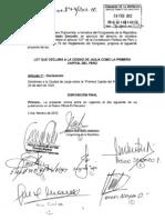 Proyecto de Ley para declarar a Jauja Primera Capital del Perú