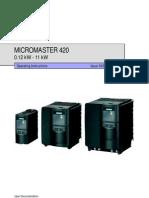 Siemens Micro Master 420 Manual