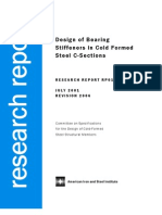 Design of Bearing Stiffeners in Cold Formed C-Sections