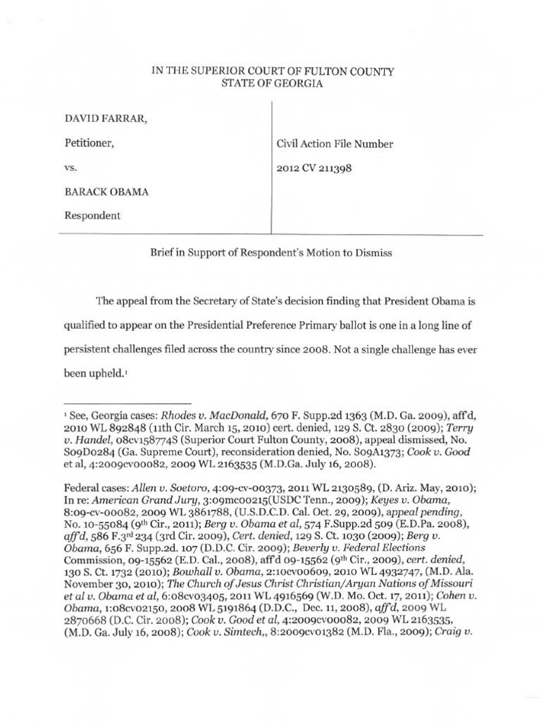 Obamas motion to dismiss farrar v obama georgia superior court obamas motion to dismiss farrar v obama georgia superior court service of process primary election aiddatafo Gallery