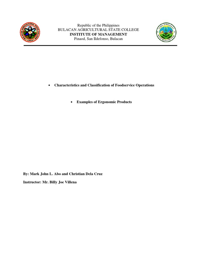 Characteristics And Classification Of Foodservice Operations And