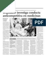 NOTICIA - REGULADOR INVESTIGA CONDUCTA ANTICOMPETITIVA EN MEDICINAS