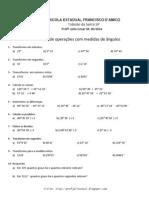 Exercícios de operações com medidas de ângulos