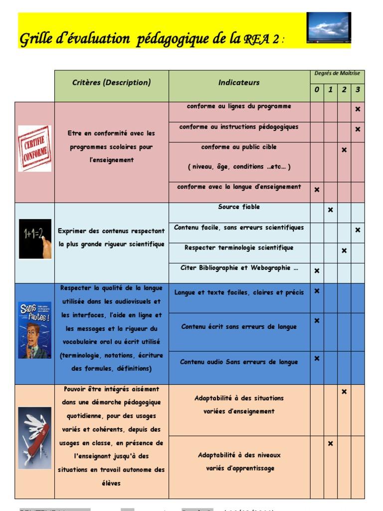 Grille d'évaluation pédagogique de la: Critères ...