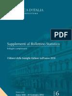 I bilanci delle famiglie italiane nell'anno 2010