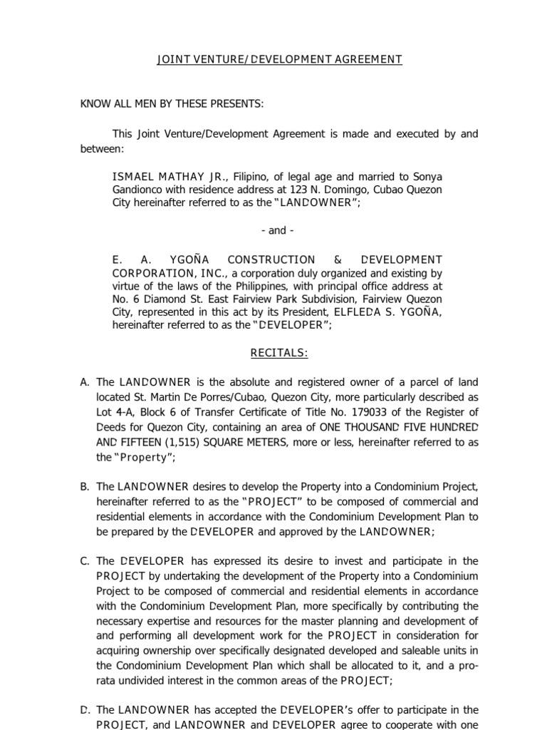 agreement between landowner and developer