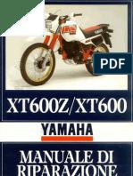 Yamaha Tènèrè Xt 600 Z - Xt 600 - Del 1985 - Manuale D'officina Per L'italia