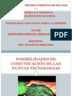 POSIBILIDADES DE COMUNICACIÓN DE LAS NUEVAS TECNOLOGIAS