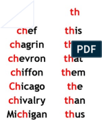 Word lists for sh, th and other phonograms