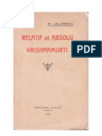 Relatif et Absolu — Krishnamurti, par M. Jalambic