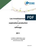 2011 Investissements en Exploration-production Et en Raffinage[1]
