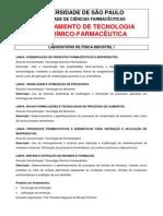 INICIAÇÃO CIENTÍFICA  DEPTO TECNOLOGIA BIOQUIMICO FARMACEUTICA