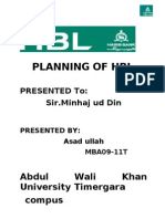 Planning of Hbl