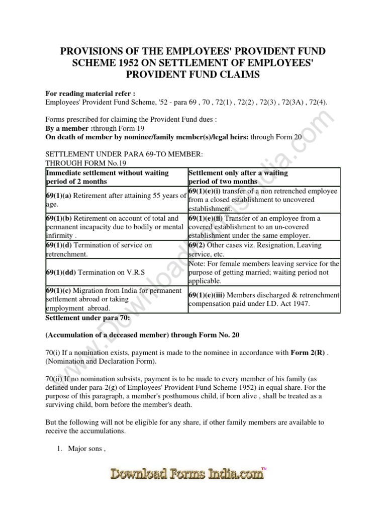 Employees provident fund scheme 1952 form 19 awesome | schéma.