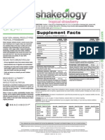 Tropical Strawberry Shakeology Nutrition Facts