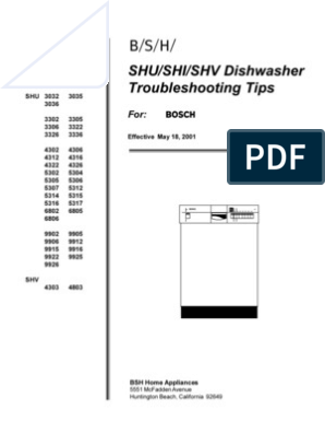 Bosch SHE Dishwasher Troubleshooting | Dishwasher | Printed Circuit