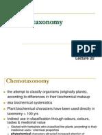 Lecture 20 - Chemo Taxonomy