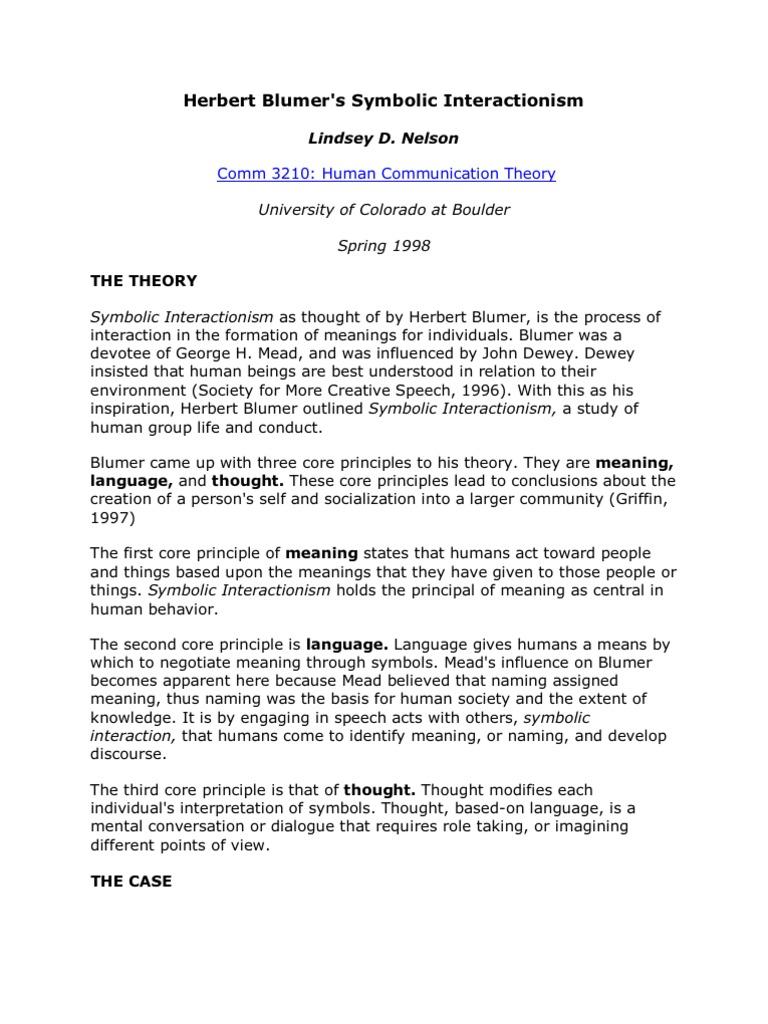 Herbert blumer symbolic interaction ism buycottarizona