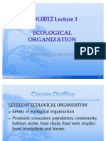 BIOL0012 Lecture 1. Ecological Organization