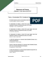 Resumen prensa CEU-UCH 03-03-2012