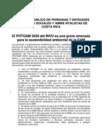 MANIFIESTO PUBLICO DE PERSONAS Y ENTIDADES ACADEMICAS SOCIALES Y AMBIENTALISTAS DE COSTA RICA