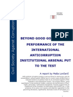 Beyond Good Governance Performance of the International Anti Corruption Institutional Arsenal Put to the Test
