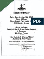 Spaghette Dinner 14 April 2012 Flyer