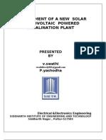 Development of a New Solar Photo Voltaic Powered Desalination Plant