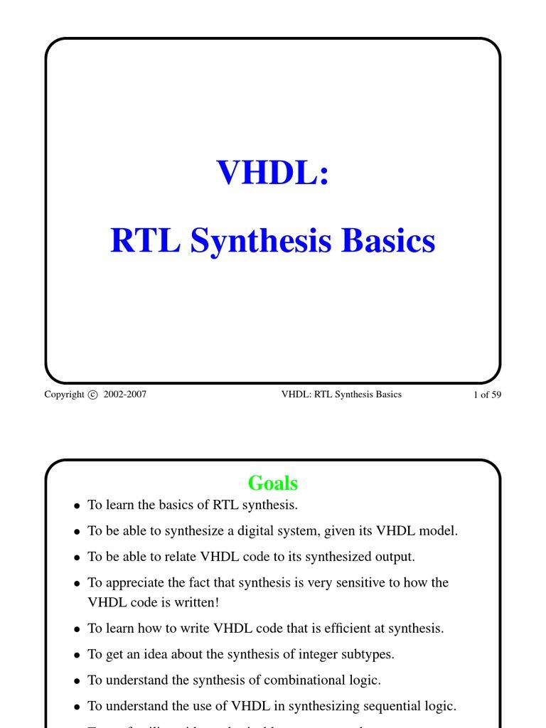 VHDL Rtl Synthesis Basics   Vhdl   Logic Synthesis