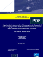 Report on the Implementation of the derogation to the standard rules of origin granted to the Pacific ACP States in the framework of the Interim Economic Partnership Agreement (EPA)