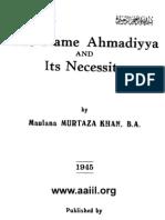 Name Ahmadiyya a Necessity