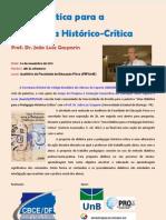 Palestra com João Luiz Gasparin na FEF/UnB - Folder