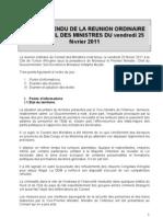 Compte-Rendu Du Conseil Des Ministres du 25.02. 2011doc