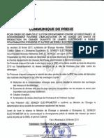 Communique de Presse, Protocole d'Accord RDC - El Sewedy Electrometer 25 fevrier 2011