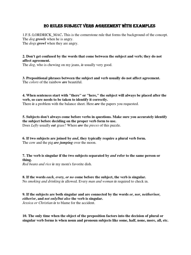 All Grade Worksheets Subject Verb Agreement Worksheet All – Subject Verb Agreement Worksheet 4th Grade