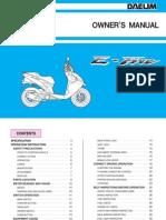 Daelim E-Five & S-Five Owner's Manual