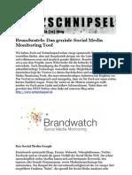 Social Media Tool Brandwatch
